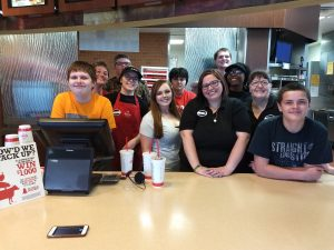 Elgin students with the Arby's Team