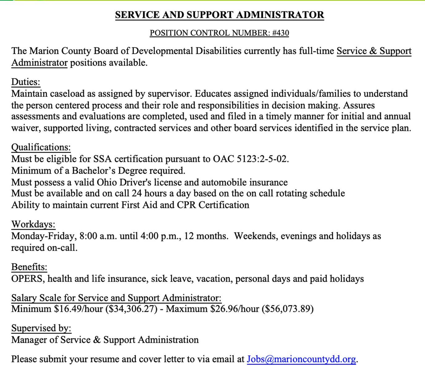 Service and Support Administrator Job Posting