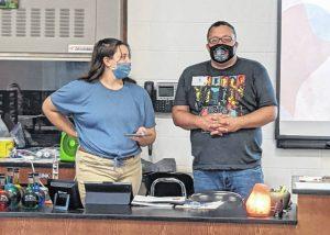 Julia Conner and Joe Hopkins present to a Galion High School class